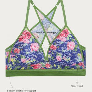 Zivame Floral Padded Non Wired Medium Coverage Bralette Blue Pink Floral Pt