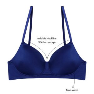Zivame Soft n Sheen Padded Non Wired 3 4th Coverage T Shirt Bra Sodalite Blue