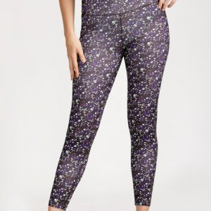 West Vogue Abstract Square Skin Fit Pants Purple N White