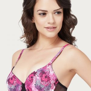 Amante Padded Wired T Shirt Bra Pink N Print